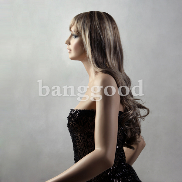 Full Bangs Long Curly Straight Japanese Kanekalon Synthetic Hair Wigs