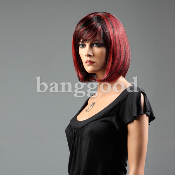 New Fashion Style BOBO Head Red Highlight Short Straight Women Wig