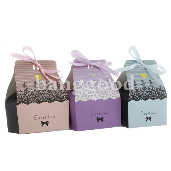 100pcs Sweet Love Cute Ribbon Wedding Favor Candy Gift Boxes Wedding