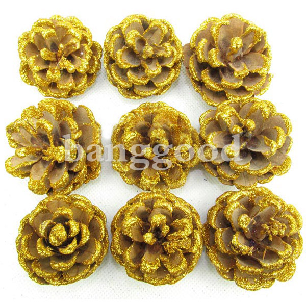 Christmas Tree decoration Golden Real Pine Cone