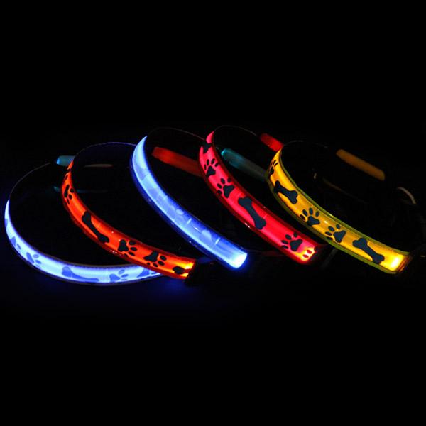 Night Safety Dog Collar Waterproof Bone LED Pet Flashing Collar