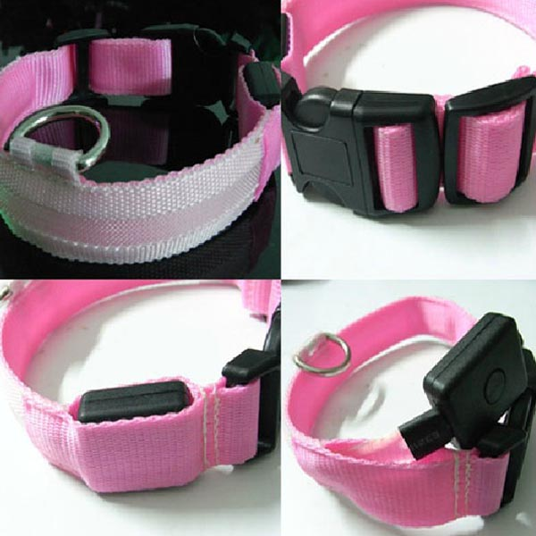 Pink LED Pet Collar Night Safety Dog Flashing Collar