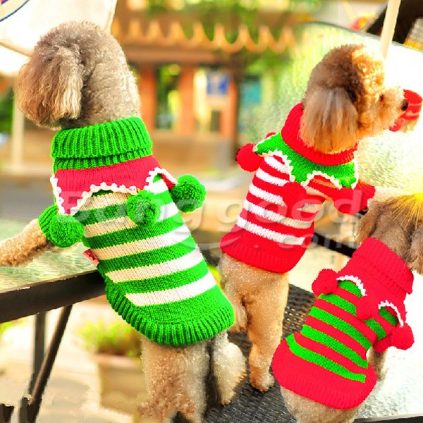 Christmas Red Green Stripes Wool Ball Turtleneck Dog Sweater