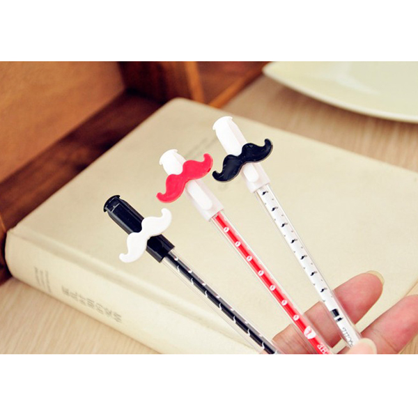 Cute Mustache Beard Design Gel Pen Needle Tubing Sign BallPen