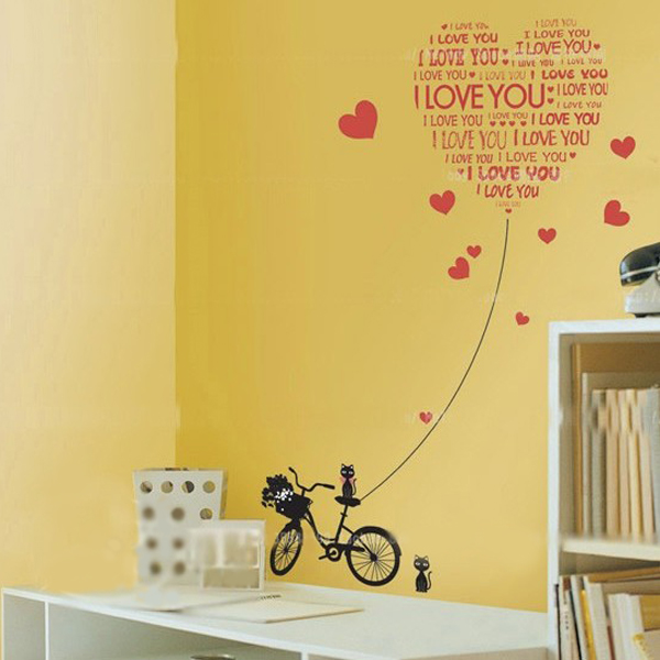Creative Love Cat Wall Sticker Home Decoration Decal Love Sticker