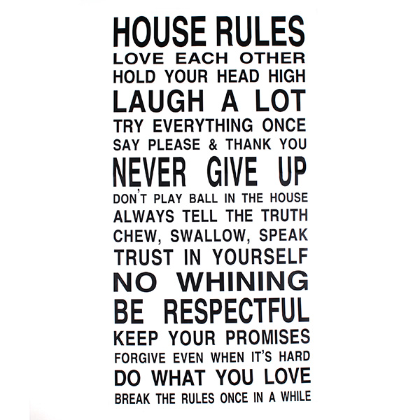 House Rules Art Words Graphics PVC Wall Sticker Wallpaper 8010