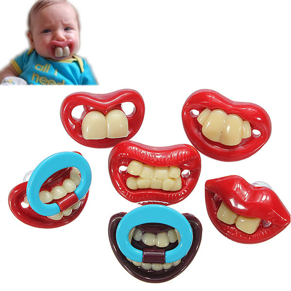 Cute Baby Funny Gagtooth Lip Pacifiers Dummy Teether Nipple