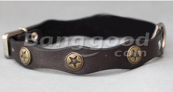 Wavy Shape Retro Style Pet Dog Leather Collar With Bronze Decoration