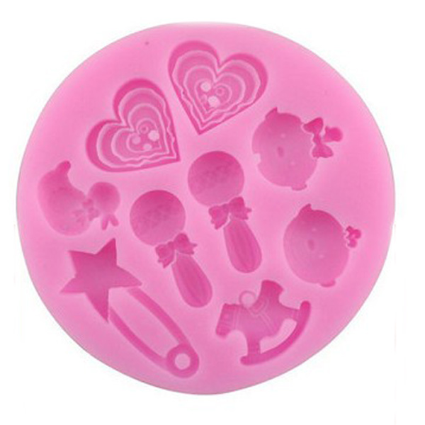 F0489 Silicone Baby Heart Duck Cake Mould Fondant Chocolate Soap Mould