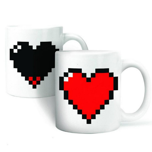 Creative Ceramic Love Heart Coffee Cup Sensitive Color