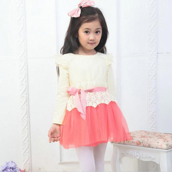 Baby Girls Tutu Skirts Dress One Piece Lace Bowknot Belt Long Sleeve