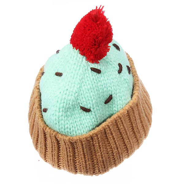 Baby Girls Ice Cream Multicolor Yarn Knitted Hat Candy Cake Hat