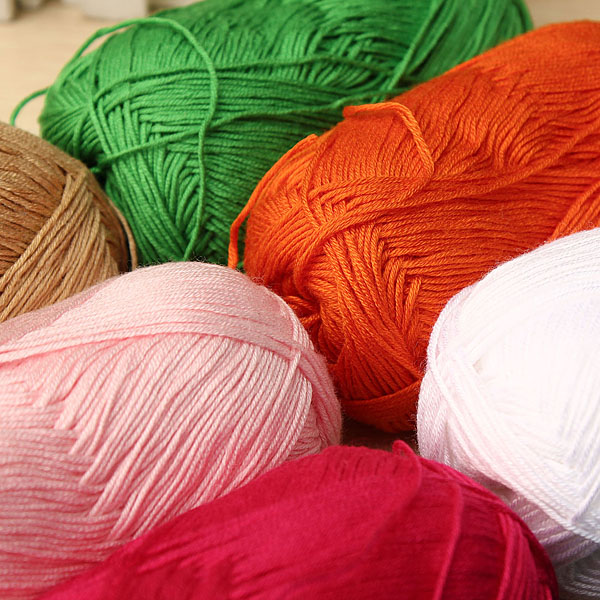 12 Colors Finger Ring Knitting Yarn Smooth Woolen Cotton Bamboo Yarn