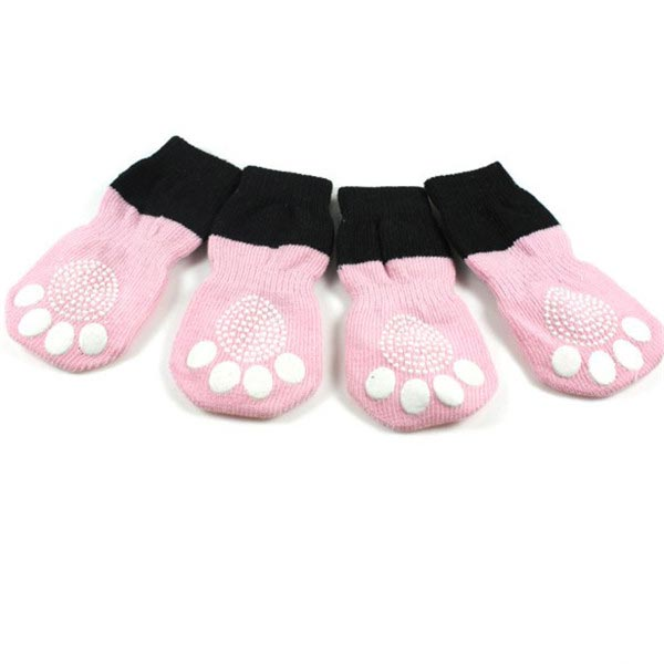 Pet Dog Lovely Pink Butterfly Pattern Rubber Pads Cotton Socks