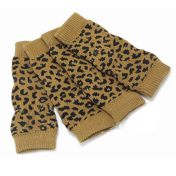Pet Dog Leopard Pattern Cotton Knitted Warm Kneelet Ankle Socks