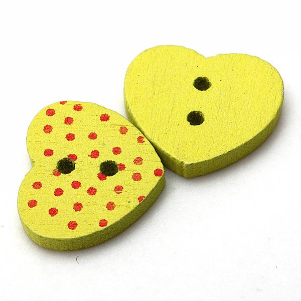 50pcs Wood Buttons 2 Holes Polka Dot Heart DIY Craft Sewing Charm