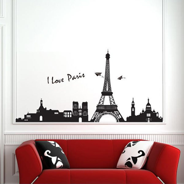 90*60CM Eiffel Tower Paris Wall Sticker Art Mural Wall Removable Wallpaper
