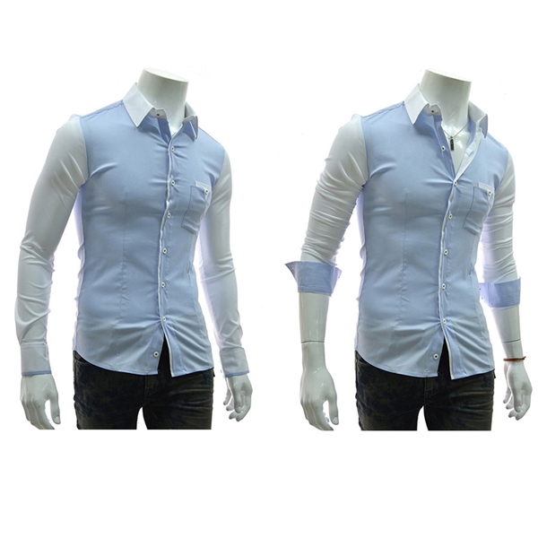 Contrast Color Leisure Slim Fit Mens Cotton Long Sleeved Shirt