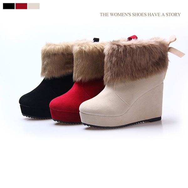 Platform Wedge Heel Butterfly Knot Nubuck Leather Ankle Snow Boots