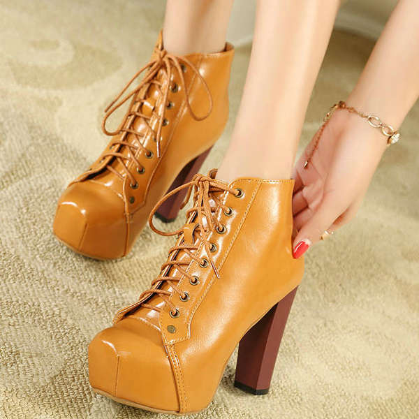 Sexy Women Platform Round Toe Thick High Heels Lace-Up Ankle Boots