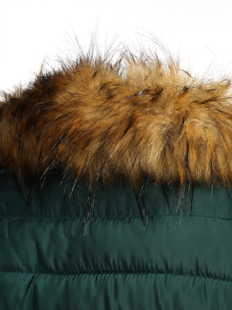 Women Raccoon Fur Collar Long Thick Padded Cotton Coats
