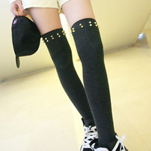 New Arrival Punk Style Cotton Cool Rivet High Stockings