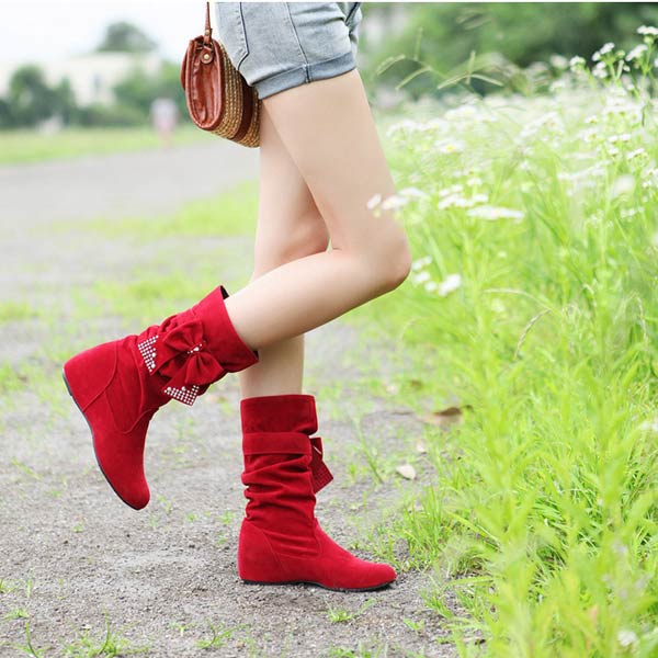 Bowtie Mid Calf Women Boots Butterfly Knot Hidden Heel Ladies Shoes