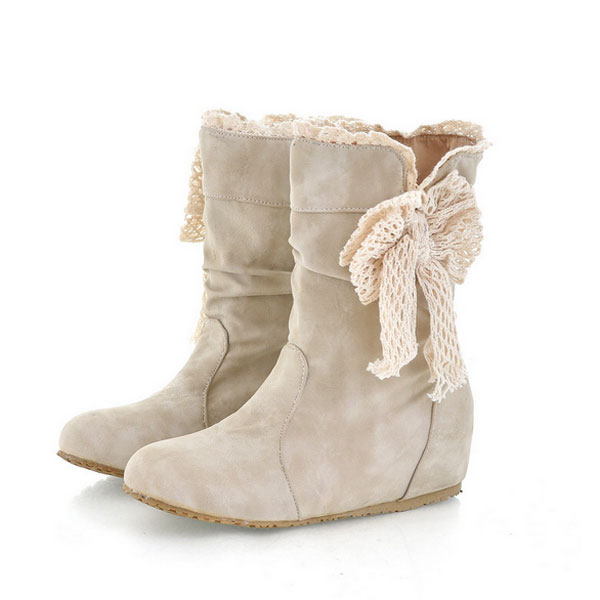 Lace Women Snow Boots Butterfly Knot Mid Calf Bow Knot Shoes