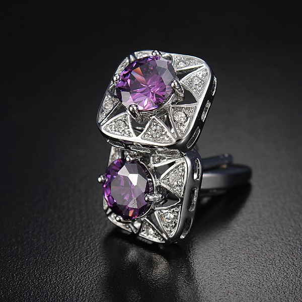Men Purple Square Cleat Rhinestone Dress Wedding Party Cufflinks