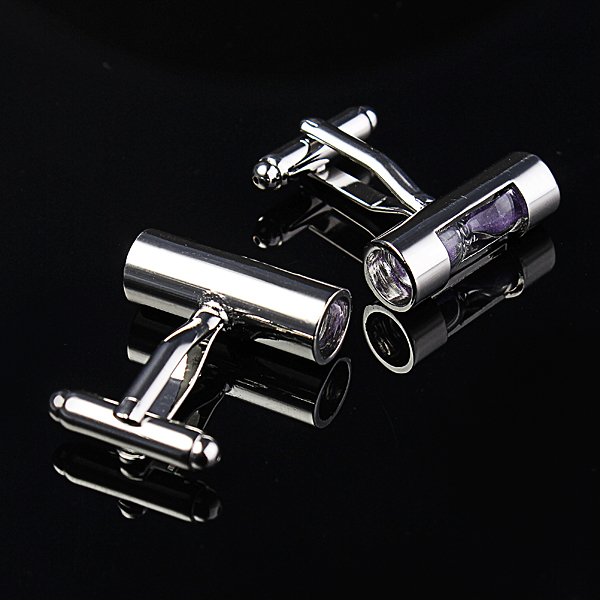 Men Purple Sand Glass Silver Sand Timer Business Wedding Suit Cuff Links