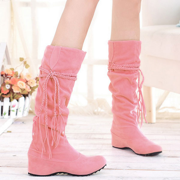 Tassels Flat Women Snow Boots Boho Mid Calf Hidden Heel Casual Shoes