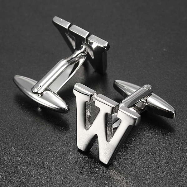 Men Shirt Suit Wedding Letter Stainless Steel Silver Cufflinks Gift