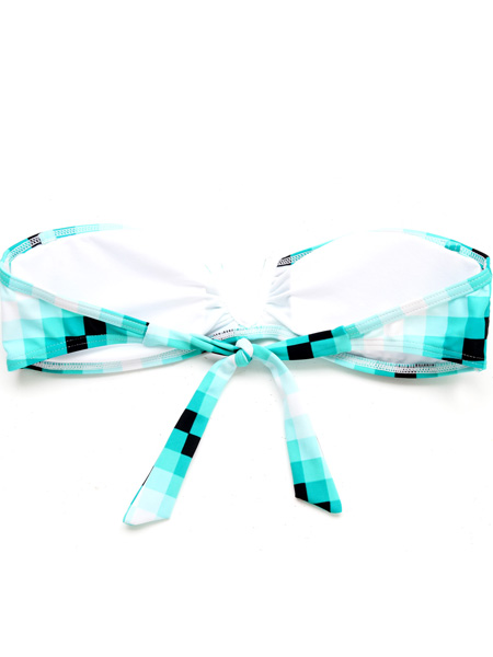 Green/White Plaid Print Front V Wire Free Strapless Bandeau Bikini Set