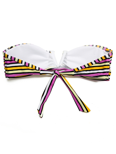 Yellow/White Stripe Strapless Backless Lace-up Bandeau Wire Free Bikini Swimwear