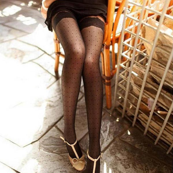 Jacquard Lace Retro Antyhose Cored Wire Sexy Women Stockings