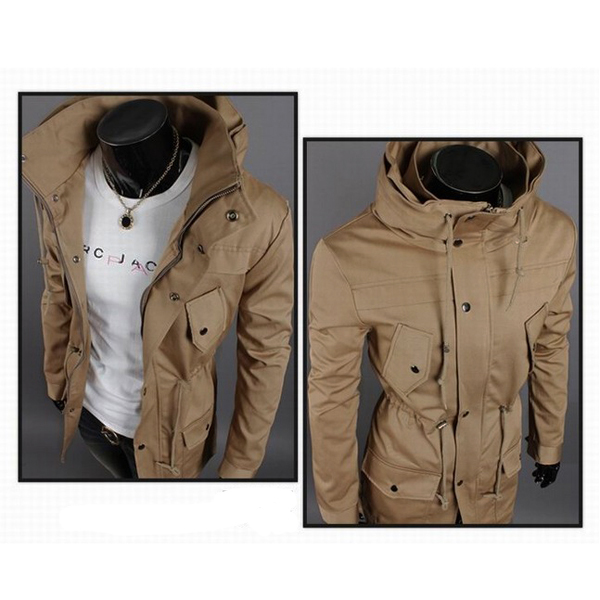 Men's Fashion Double High Collar Solid Color Casual Jacket