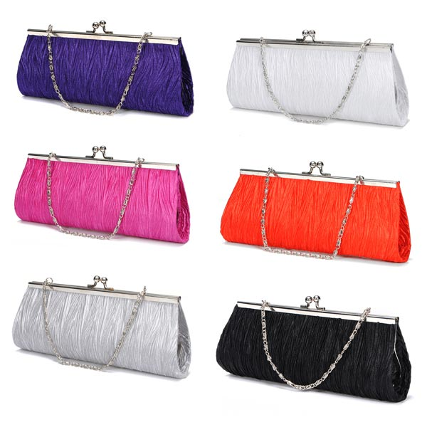 New Elegant Satin Pleated Bridal Evening Clutch Handbag