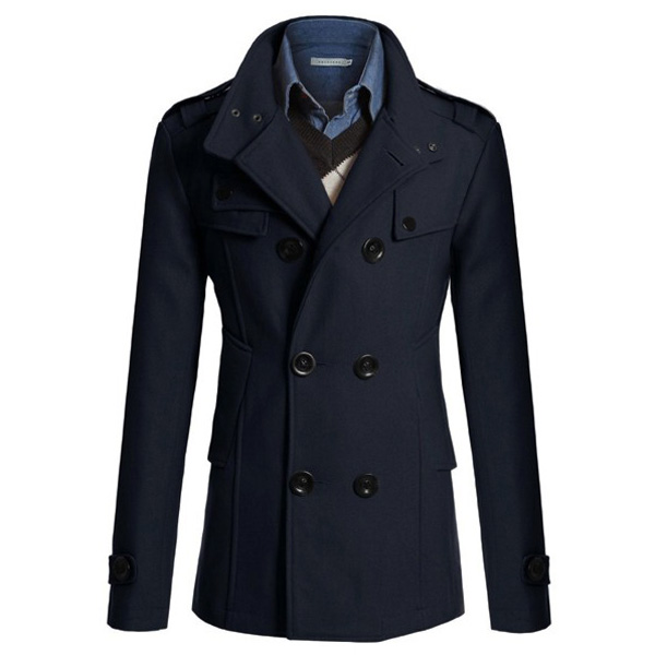 Mens Slim Double-breasted Trench Coat Long Windbreaker