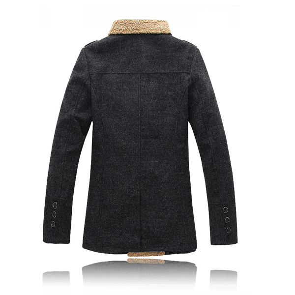 Mens Double Breasted Winter Snow Hooded Wool Coats