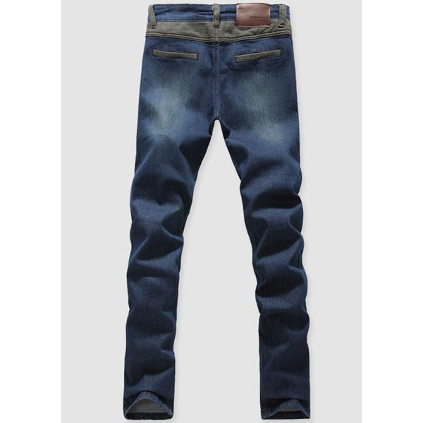 Elastic Waist Mens Jeans Slim Fit Casual Denim Cotton Jeans