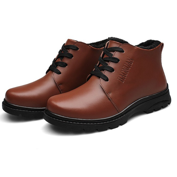 Mens Thick Warm Genuine Leather Shoes Wearproof Sneakers