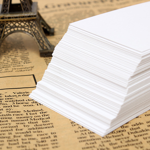 100pcs Blank White Paper Card Business Word Card Note Card 90x55mm