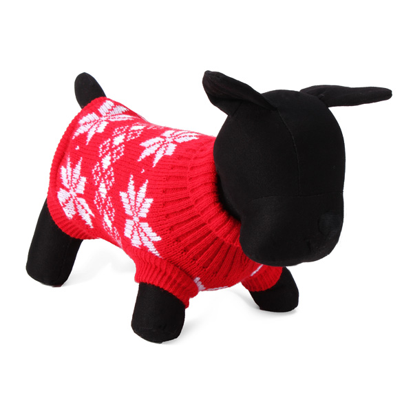 Maple Leaf Pet Dog Knitted Breathable Sweater Outwear Apparel