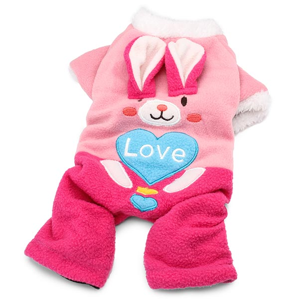 Lovely Embroider Cute Rabbit Coral Fleece Cat Dog Winter Pink Clothes