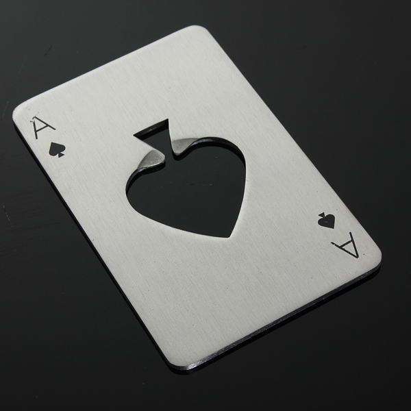 Poker Playing Card Ace of Spades Bar Tool Soda Beer Bottle Cap Opener