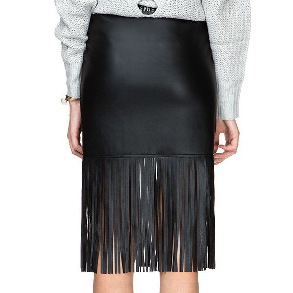 Sexy Hot Retro Bud Black Tassel Knee Length PU Skirt