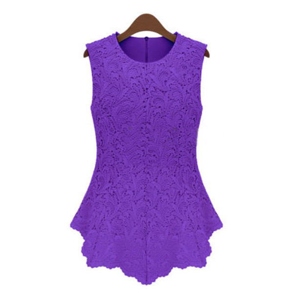 Casual Women Candy Plus Size Sleeveless Embroidery Chiffon Lace Vest
