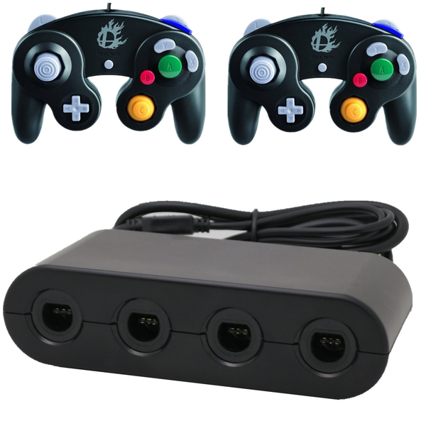 NEW 4 Ports GameCube GC Controller Adapter Converter for Wii U Black High Quality