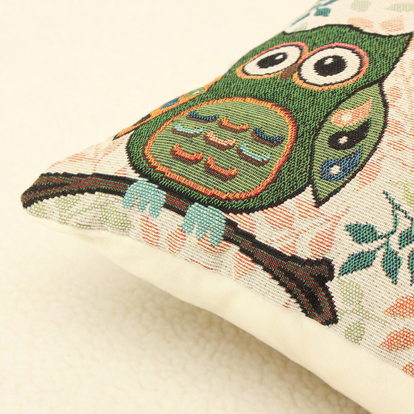 Cute Owl Linen Cotton Throw Pillow Case Sofa Cushion Cover