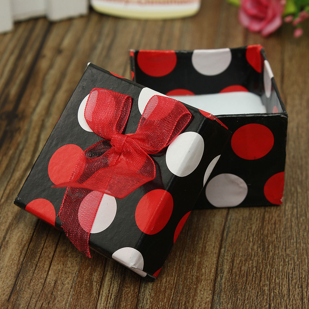 Dot Bowknot Jewelry Necklace Bracelet Ring Display Gift Box Case